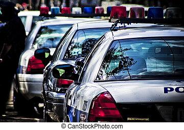 voitures, américain, police, vue postérieure