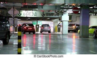 voitures, cavalcade, garage, stationnement, souterrain, plusieurs, loin