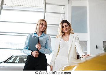 voitures, client, conseiller, concession, spectacles