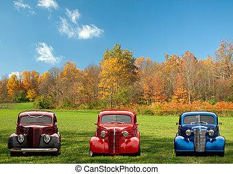 voitures, coloré, classique