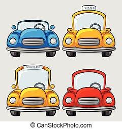 voitures, dessin animé, collection