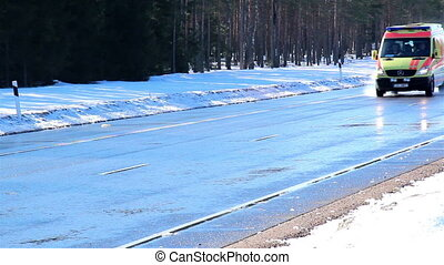 voitures, deux, jeûne, neige, courant, route