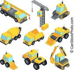 voitures, différent, isométrique, construction., technic