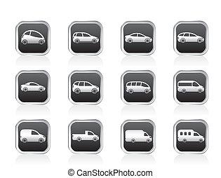 voitures, différent, types, icônes