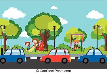 voitures, enfants, scène, route, cour de récréation