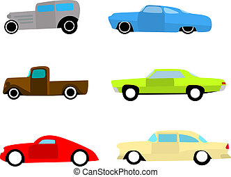 voitures, ensemble chaud, tige