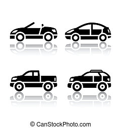 voitures, ensemble, -, transport, icônes