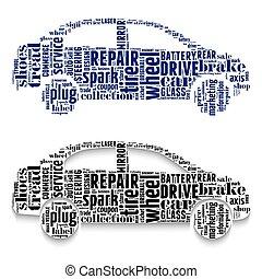voitures, fait, nuages, words.