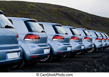 voitures, garé, rang