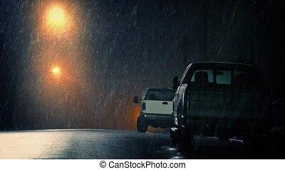 voitures, garé, tempête neige, ville