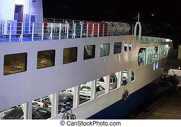 voitures, jetée, ferry-boat, nuit