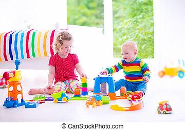 voitures, jouet, enfants jouer