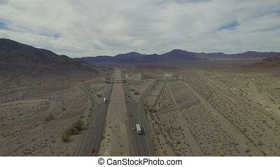 voitures, long, désert, route, conduite