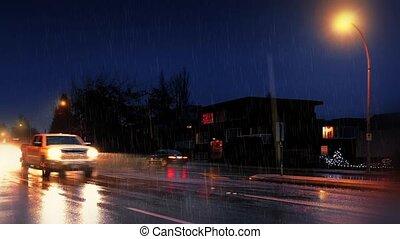 voitures, nuit pluvieuse, dépassement, maisons