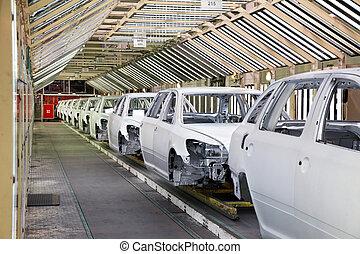 voitures, rang, usine, voiture