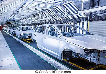 voitures, rang, usine voiture