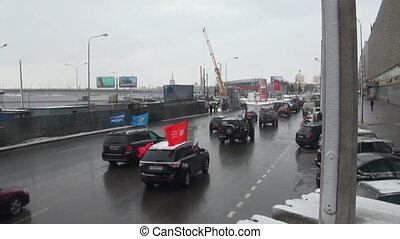 voitures, rue., drapeaux, petersburg, rassemblement