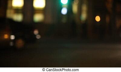 voitures, rue, ville