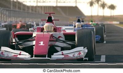 voitures, une, début, attente, course, formule, position