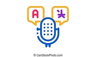 voix, animation, icône, microphone, appareil