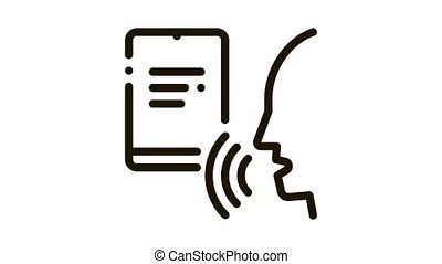 voix, contrôle, icône, humain, animation, cahier