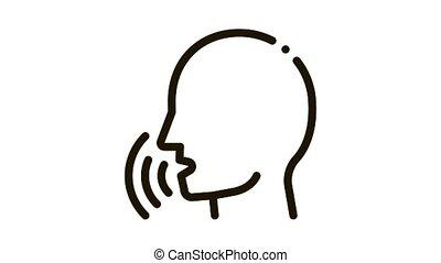 voix, contrôle, icône, humain, animation