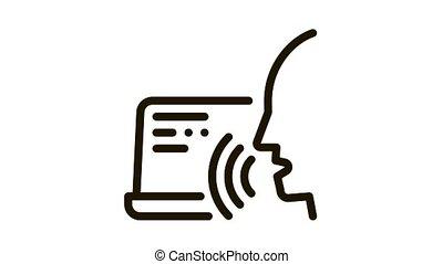 voix, contrôle, icône, humain, ordinateur portable, animation