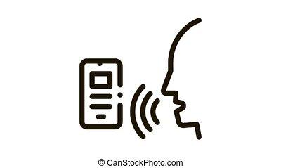 voix, contrôle, icône, smartphone, animation