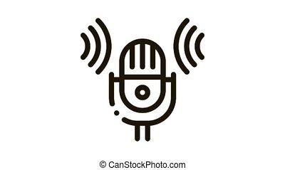 voix, contrôle, microphone, son, icône, animation