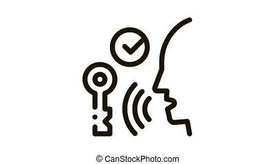 voix, contrôle, sécurité, icône, système, animation