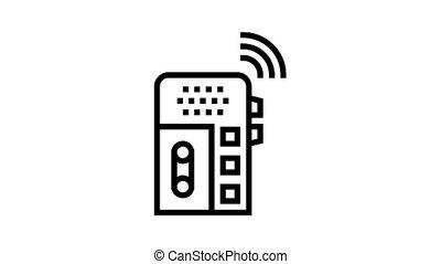 voix, gadget, enregistreur, icône, animation, ligne, dictaphone