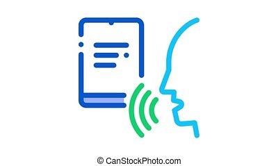 voix, humain, cahier, animation, icône, contrôle
