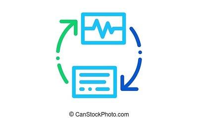 voix, sans fil, diagnostic, animation, icône, contrôle