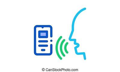 voix, smartphone, animation, icône, contrôle