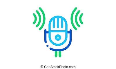 voix, son, animation, icône, microphone, contrôle