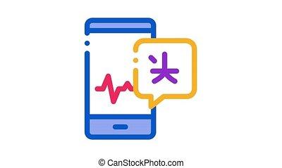voix, vague, téléphone, animation, icône, écran