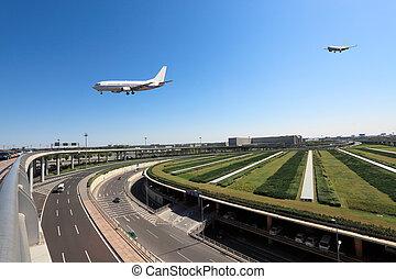 vol, aéroport, arrivée
