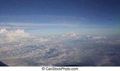 vol, animation, sur, loop-able, nuages