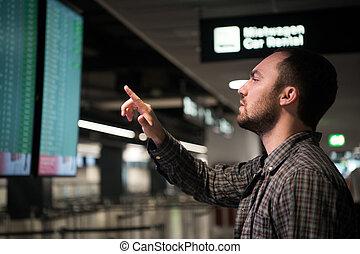 vol, arrivées, regarder, aéroport, planche, homme, départs