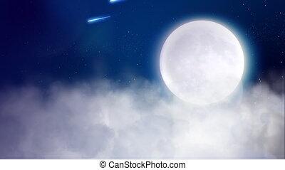 vol, au-dessus, nuages, lune