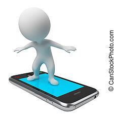 vol, gens, -, téléphone, petit, 3d