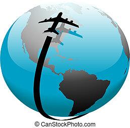 vol, jet, sur, sentier, la terre, avion, ombre