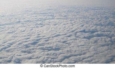 vol, naturel, fenêtre, au-dessus, nuages, avion, vue côté