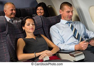 vol passager, relâcher, sommeil, pendant, cabane avion