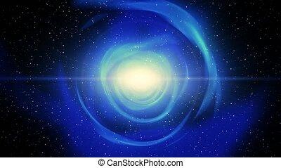 vol, sci-fi, trou ver, science, ver, fiction, par, 4k, étoiles, vent, trou, solaire