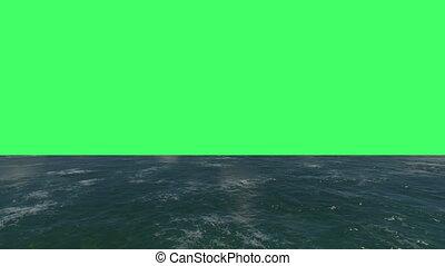 vol, surface, écran, sur, eau verte