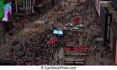 vol, temps, nouvelle voiture, lumière du jour, aerial:, york, sur, lourd, coeur, gens, trafic, carrée, haut, foule, ville, fin
