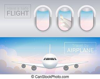 vol, touriste, banner., sûr, nuages, fenêtre, avion, sky., travers
