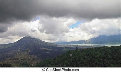 volcan, défaillance, lac, temps