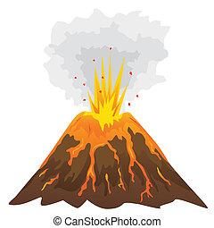 volcan, fond blanc, isolé, (vector)